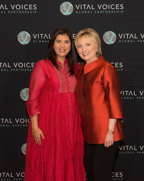 Elsa D'silva and Hillary Clinton_Vital Voices